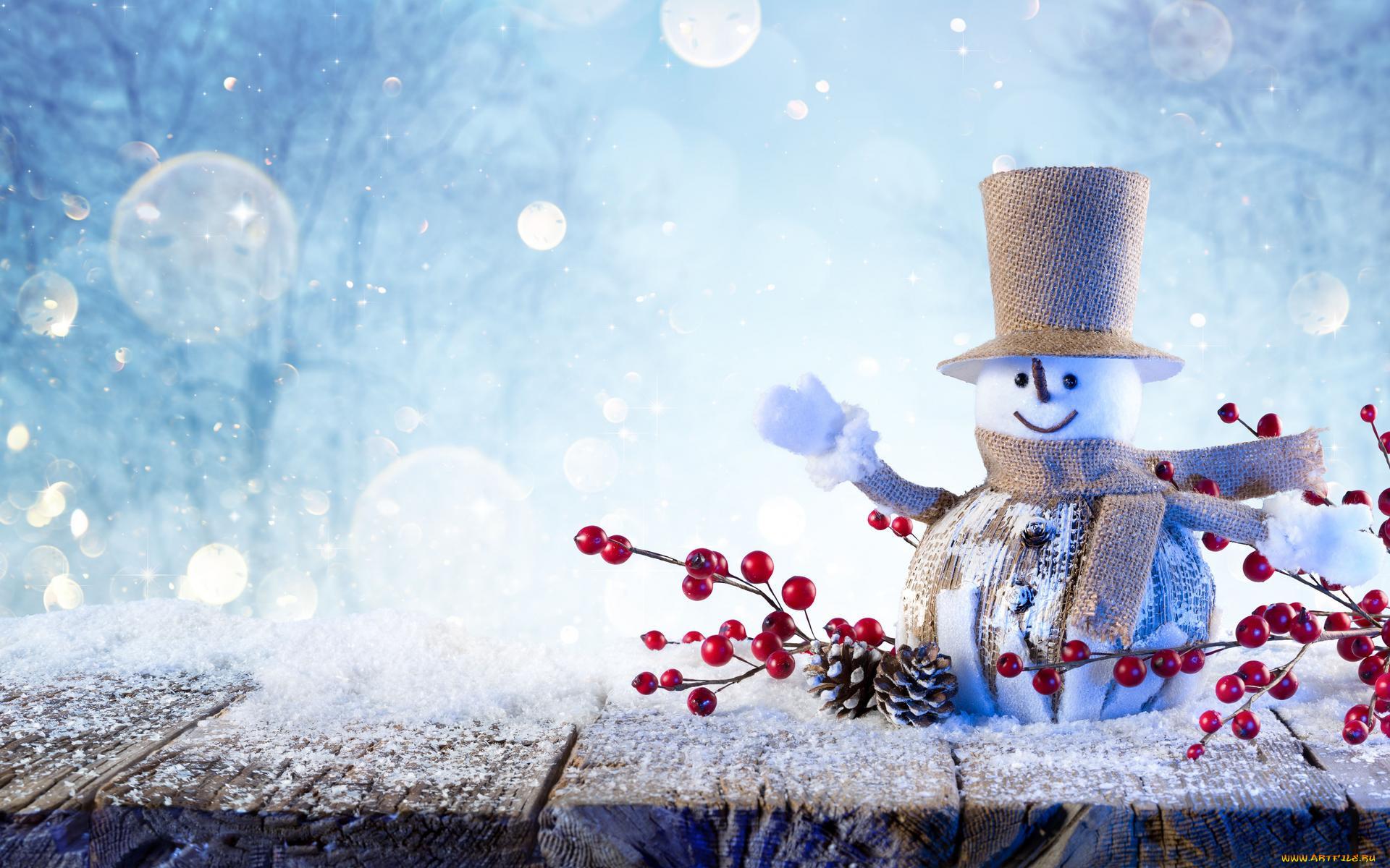 Картинка фон снеговик